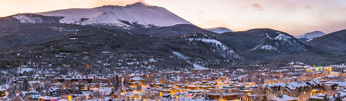 View of Breckenridge, Colorado, at sunset
