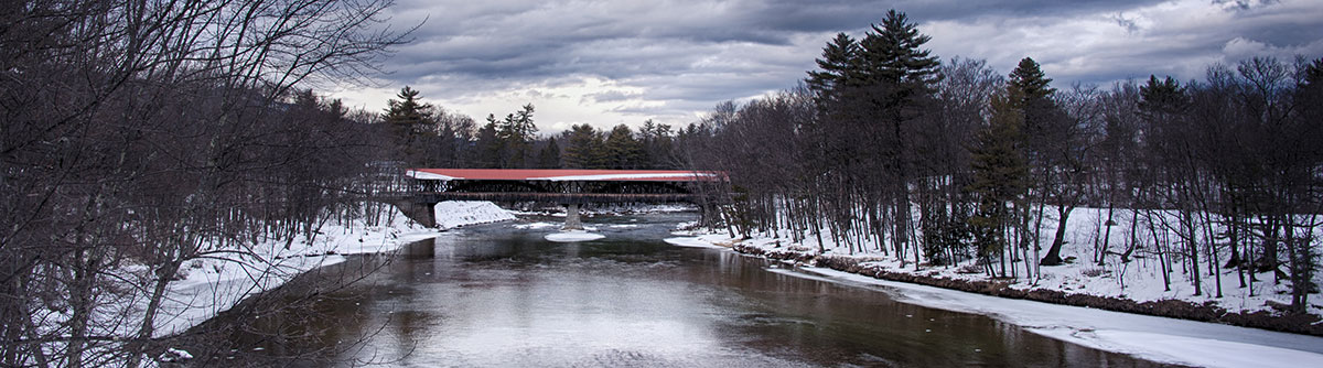 View of a covered bridge in North Conway, New Hampshire, in winter