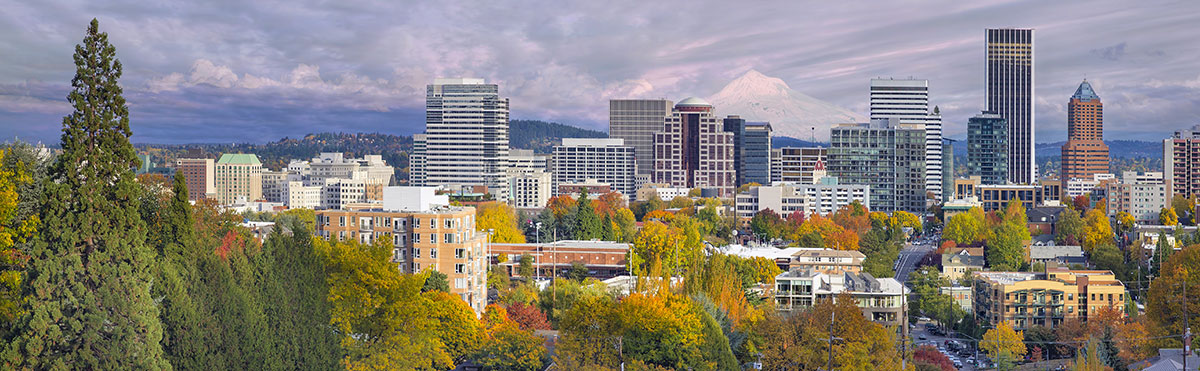 View of Portland, Oregon, with Mount Hood