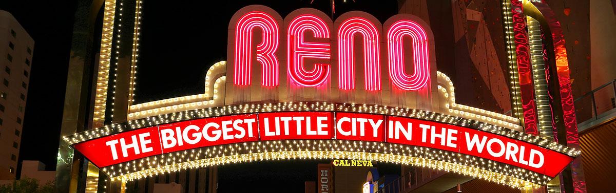 The Reno, Nevada, arch sign at night