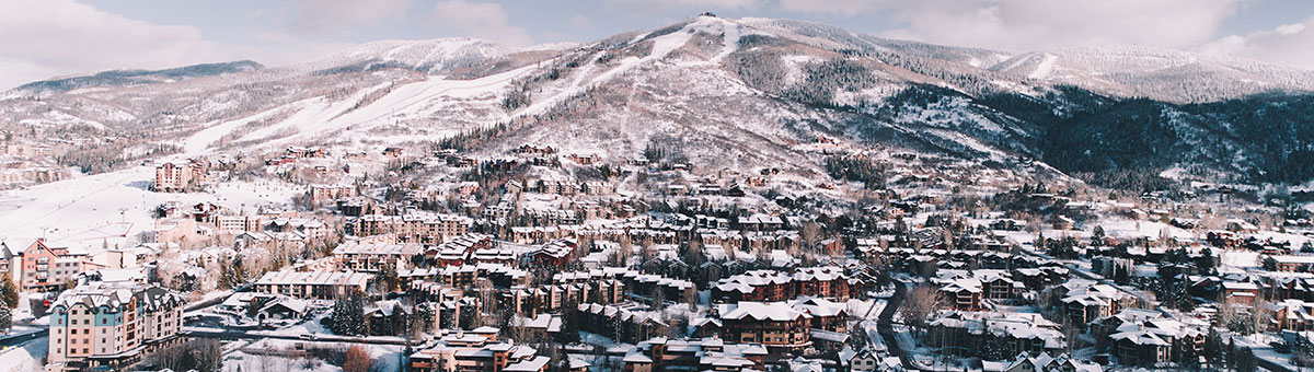 View of Steamboat Springs, Colorado, in winter