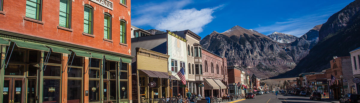 View of Main Street in Telluride, Colorado
