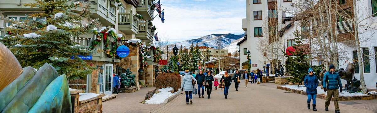 People walking past shops in Vail, Colorado