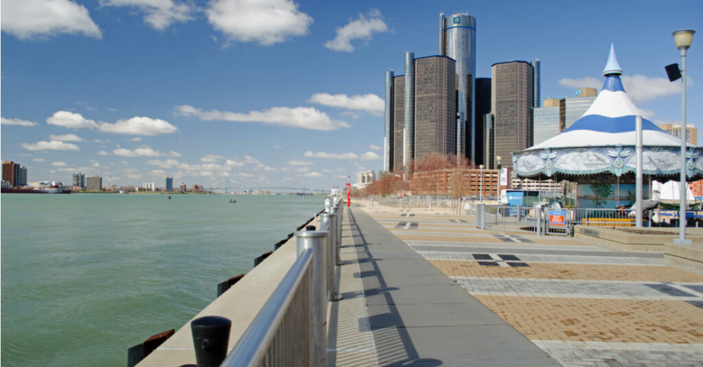 View of the Detroit RiverFront on a sunny day, with a carousel.