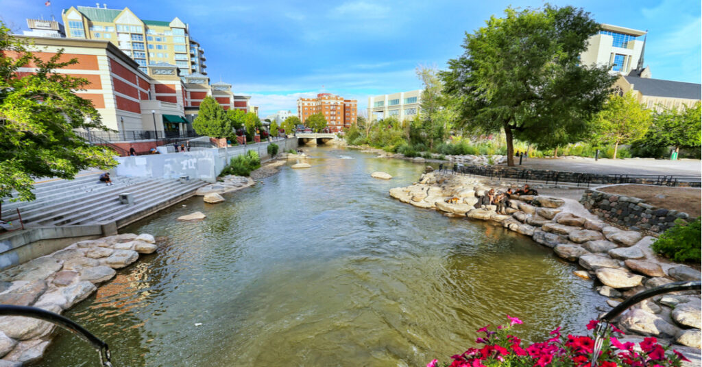 View of the Truckee River and the Reno Riverwalk in Reno, Nevada.